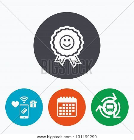 Award smile icon. Happy face medal symbol. Mobile payments, calendar and wifi icons. Bus shuttle.