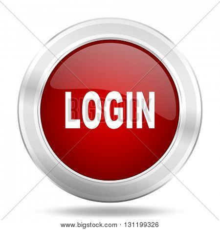 login icon, red round metallic glossy button, web and mobile app design illustration