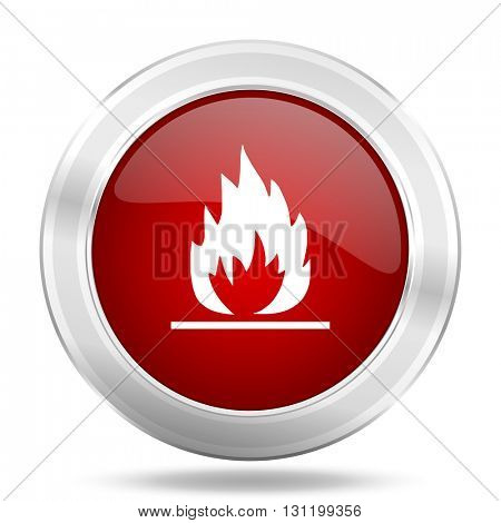 flame icon, red round metallic glossy button, web and mobile app design illustration