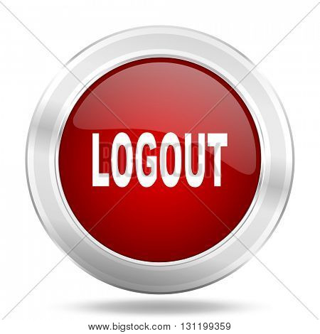 logout icon, red round metallic glossy button, web and mobile app design illustration