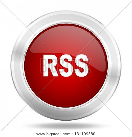 rss icon, red round metallic glossy button, web and mobile app design illustration