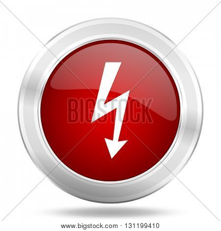 bolt icon, red round metallic glossy button, web and mobile app design illustration