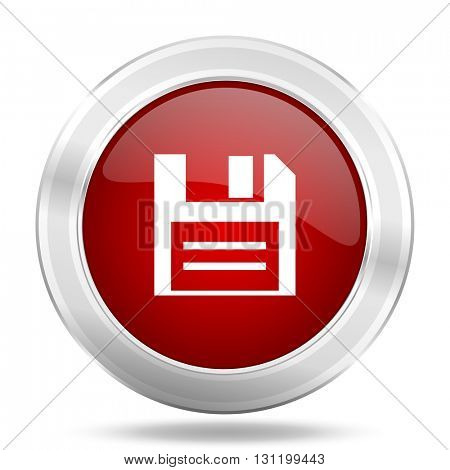 disk icon, red round metallic glossy button, web and mobile app design illustration