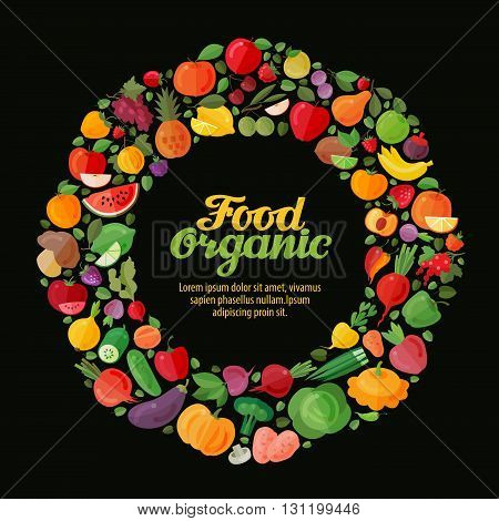organic food. collection fresh fruits and vegetables made in flat style