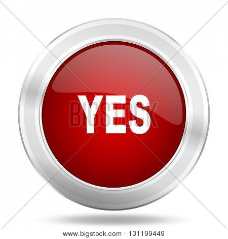 yes icon, red round metallic glossy button, web and mobile app design illustration