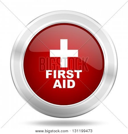 first aid icon, red round metallic glossy button, web and mobile app design illustration