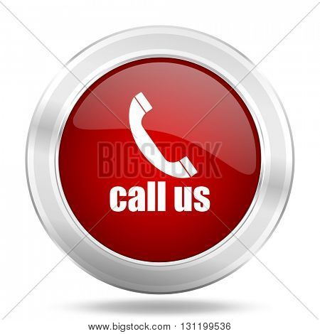 call us icon, red round metallic glossy button, web and mobile app design illustration