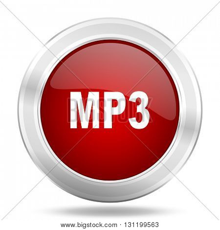 mp3 icon, red round metallic glossy button, web and mobile app design illustration