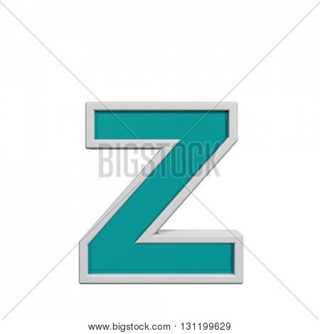 One lower case letter from turquoise glass with white frame alphabet set. 3D illustration.