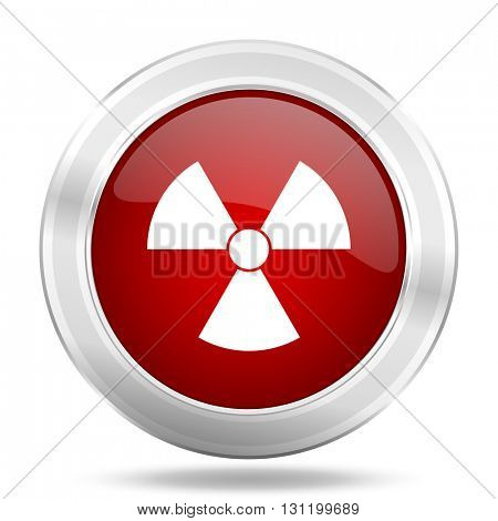 radiation icon, red round metallic glossy button, web and mobile app design illustration