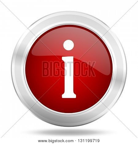information icon, red round metallic glossy button, web and mobile app design illustration