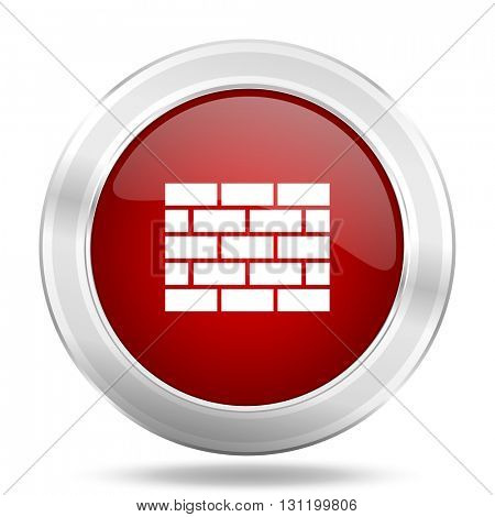 firewall icon, red round metallic glossy button, web and mobile app design illustration