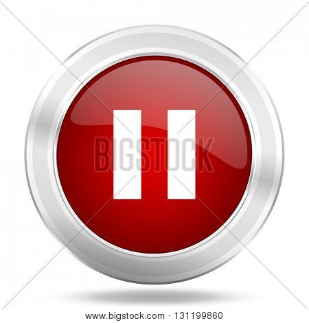 pause icon, red round metallic glossy button, web and mobile app design illustration