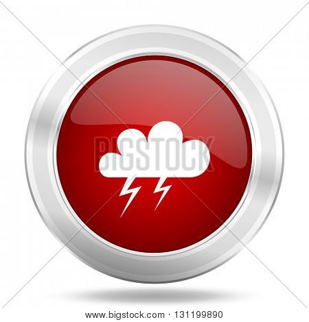 storm icon, red round metallic glossy button, web and mobile app design illustration