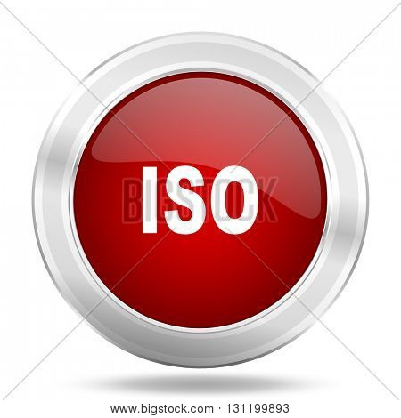 iso icon, red round metallic glossy button, web and mobile app design illustration