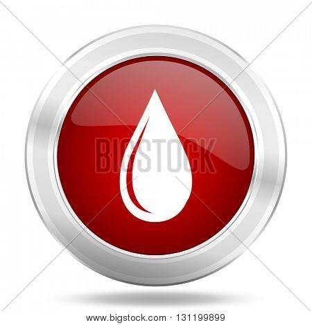 water drop icon, red round metallic glossy button, web and mobile app design illustration