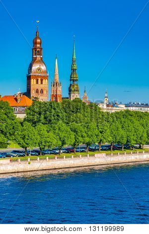 Old Town Of Riga And Daugava River, Riga Cathedral, Saint Peters Church And Other Spiers. Riga, Latv