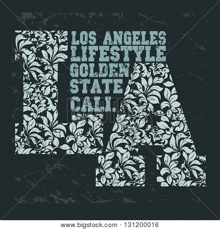 California t-shirt school athletics apparel stamp. Los Angeles Tee typography print with flowers. Fashion graphic - vector illustration