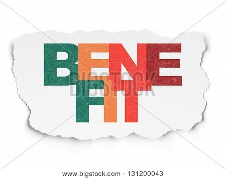 Finance concept: Painted multicolor text Benefit on Torn Paper background