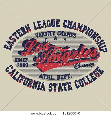 Sport t-shirt Los Angeles print, vintage style typography emblem, college athletics apparel, varsity jersey stamp, California fashion clothes. Vector