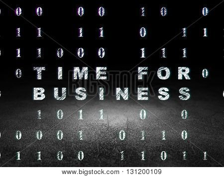 Finance concept: Glowing text Time for Business in grunge dark room with Dirty Floor, black background with Binary Code