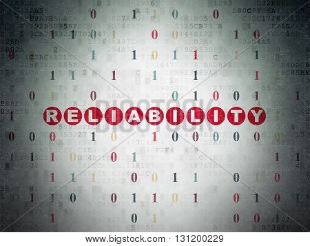 Finance concept: Painted red text Reliability on Digital Data Paper background with Binary Code