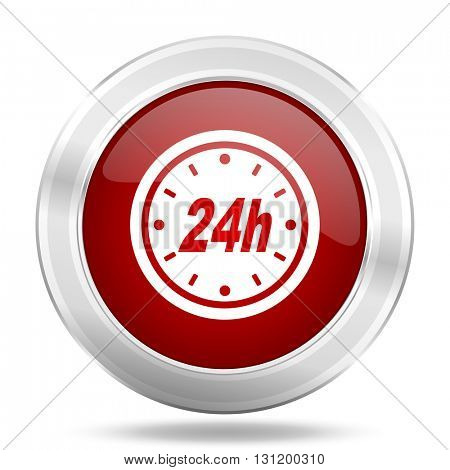 24h icon, red round metallic glossy button, web and mobile app design illustration