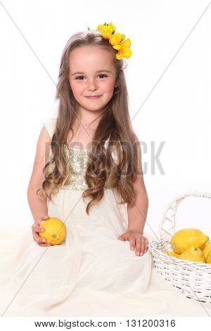 cute girl with yellow flowers