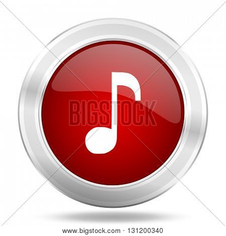music icon, red round metallic glossy button, web and mobile app design illustration