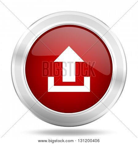 upload icon, red round metallic glossy button, web and mobile app design illustration