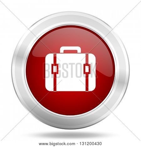bag icon, red round metallic glossy button, web and mobile app design illustration