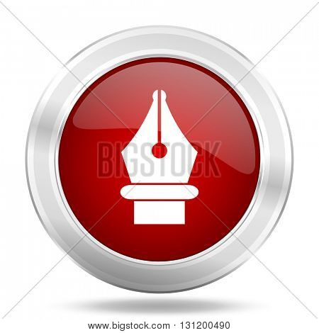 pen icon, red round metallic glossy button, web and mobile app design illustration