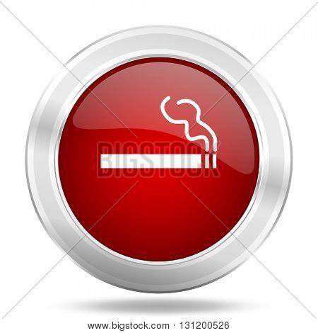 cigarette icon, red round metallic glossy button, web and mobile app design illustration