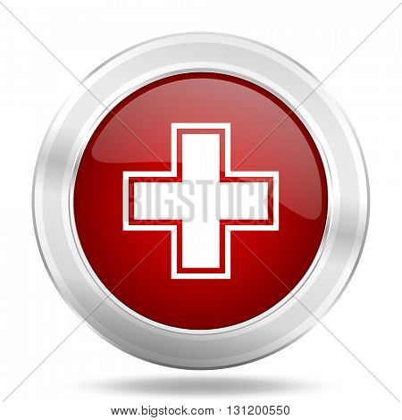 pharmacy icon, red round metallic glossy button, web and mobile app design illustration