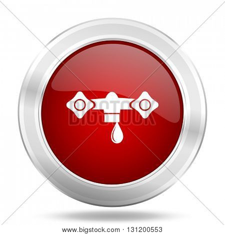 water icon, red round metallic glossy button, web and mobile app design illustration