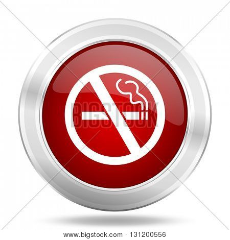 no smoking icon, red round metallic glossy button, web and mobile app design illustration
