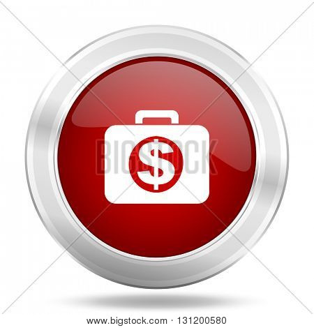 financial icon, red round metallic glossy button, web and mobile app design illustration