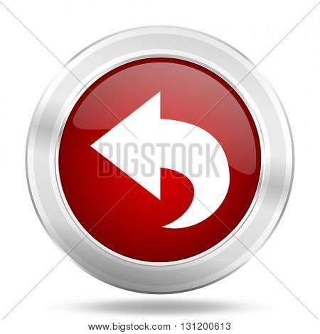 back icon, red round metallic glossy button, web and mobile app design illustration
