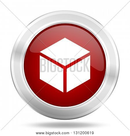 box icon, red round metallic glossy button, web and mobile app design illustration