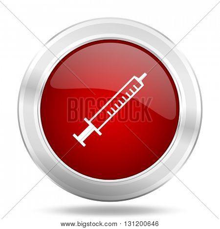 medicine icon, red round metallic glossy button, web and mobile app design illustration