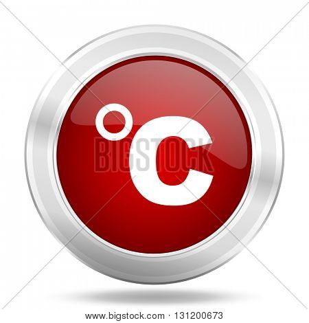 celsius icon, red round metallic glossy button, web and mobile app design illustration
