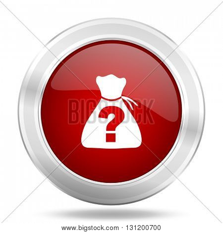 riddle icon, red round metallic glossy button, web and mobile app design illustration