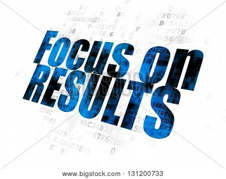 Business concept: Pixelated blue text Focus on RESULTS on Digital background