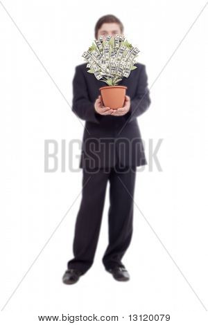 Money tree with businessman. Isolated on white.