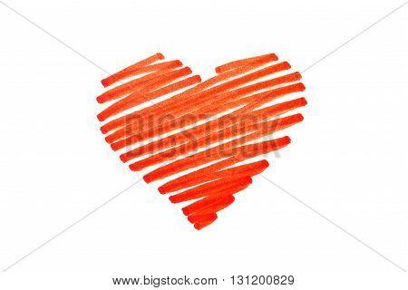 Scribbled pen red love heart valentines symbol