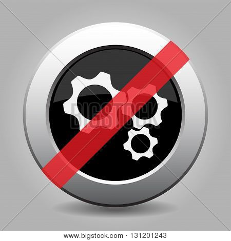 gray chrome button with no three cogwheel - banned icon