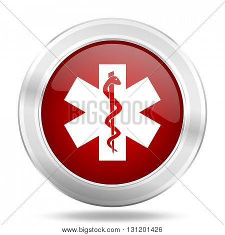 emergency icon, red round metallic glossy button, web and mobile app design illustration