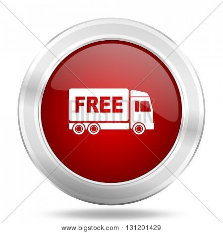 free delivery icon, red round metallic glossy button, web and mobile app design illustration