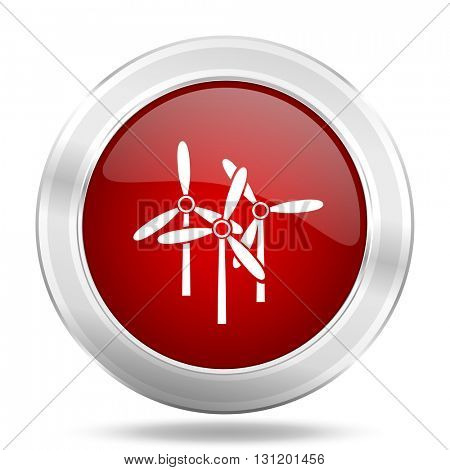 windmill icon, red round metallic glossy button, web and mobile app design illustration