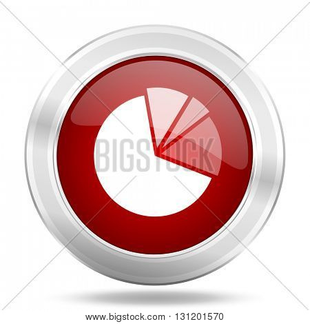 diagram icon, red round metallic glossy button, web and mobile app design illustration